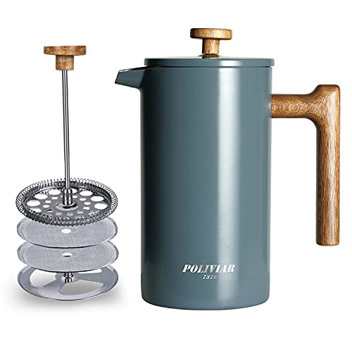 POLIVIAR French Press Coffee Maker, 34 oz Coffee Press with Teak Wood Handle, Double Wall Insulation & Dual-Filter Screen, Food Grade Stainless Steel for Good Coffee and Tea (Alpline)