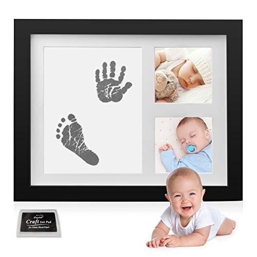 Neulon Baby Fußabdruck und Handabdruck Set Fotoalbum für Jungen und Mädchen mit ungiftigen Material kostbarem Bilderrahmen aus Holz Acrylglas Geschenken für Babys, Neugeborene - Erinnerungen