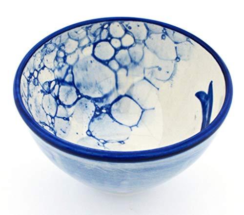 ART ESCUDELLERS Bol Desayuno en Ceramica Hecho y Pintado a Mano con decoración Marina. 13 cm x 13 cm x 7,5 cm
