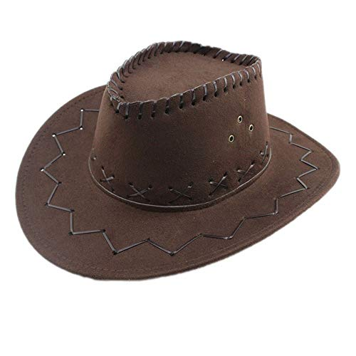 TongLingUSL Fedora Hat Jazz Cow Knight Suede Cowboy Cowgirl Hat West Montana Travel Summer Hat Sun Hat (56-58cm) Hat (Color : Dark Coffee, Size : 56-58CM)
