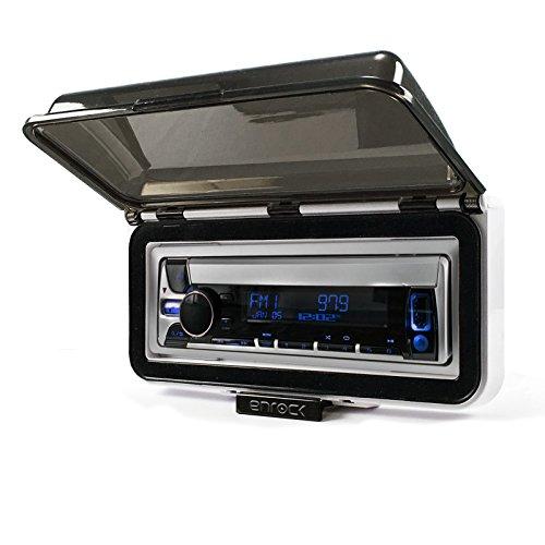 Kenwood Marine Digital Media Bluetooth Receiver Bundle Combo with Enrock Marine Single Din Radio Dash Protector (White), Enrock AM/FM Antenna (White)
