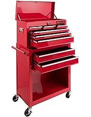 Arebos carro de taller 7 compartimentos | Caja herramientas | Recubrimiento antideslizante | Carro herramientas | Ruedas con de estacionamiento | Metal macizo | Rojo