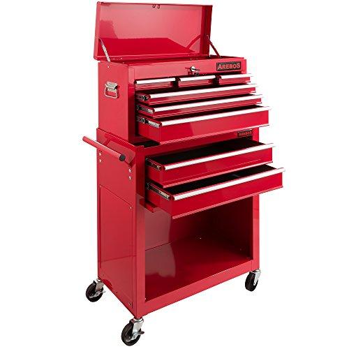 Arebos carro de taller 7 compartimentos | Caja herramientas | Recubrimiento antideslizante...