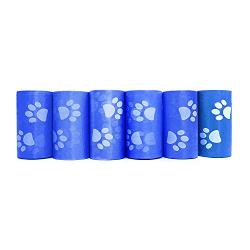 Downtown Pet Supply 2200 Pet Waste Bags, Dog Waste Bags, Bulk Poop Bags with Leash Clip and Bone Bag Dispenser - (2200 Bags, Blue with Paw Prints)