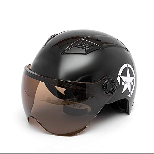 KKmoon Casco Moto Abierto,54-60CM Media Cara Casco con Visera Anteojos, Correa Adjustable para Barbilla, Casco Universal para Hombre y Mujer(Negro)
