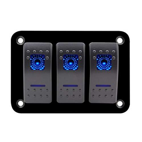 Hermoso 3 Panel de Interruptor de la embarcación de la pandilla 12V / 24V Azul retroiluminado LED Ajuste pre-cableado para el camión de automóviles de RV Marine 5 Pin ON/Off Toggle Swtich Rocker Pan
