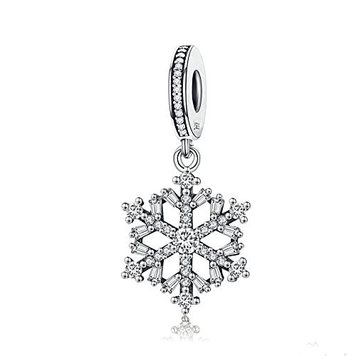 LISHOU Frauen Geschenk 925 Sterling Silber Schneeflocken Kubikzircon Anhänger Charm Beads Fit Für Frauen Armbänder Armreifen DIY Schmuckherstellung