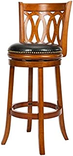 Safavieh Home Collection Baldwin Dark Oak and Black Leather Swivel 29-inch Bar Stool