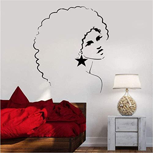Wandaufkleber Wandtattoos Vinyl Wandtattoo Sexy Disco Mädchen Frau Afro Frisur Wandbild Aufkleber Bar Salon Schlafzimmer Home Decoration 56 * 70Cm