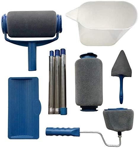 Rullo per Pittura con Serbatoio Professionale 9PCS Incluso un Rullo di Ricambio e Pennelli per Manico Rulli
