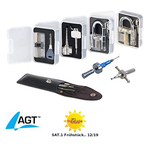 AGT Dietrich Set: Profi-Lockpicking-Set mit 19 Werkzeugen und 4 Übungsschlössern (Schloss Knacken)