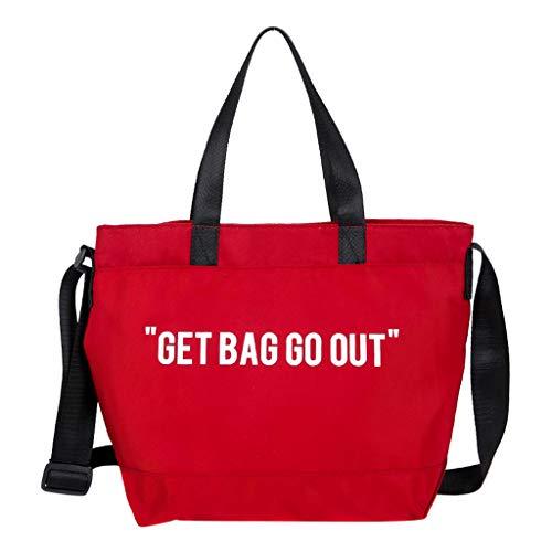 Women Canvas Crossbody Bag, Waterproof Canvas Letter Pattern Shoulder Handbags, Girls Casual Big Capacity Zipper Closure Phone Coin Storage Purses Tote