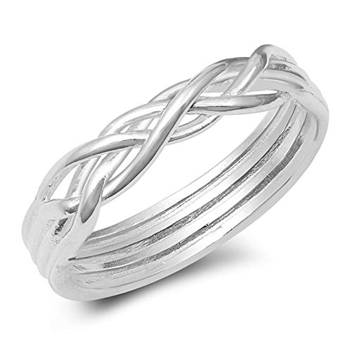 CloseoutWarehouse 925 Sterling Silver Braided Puzzle Ring Size 7