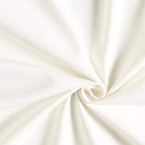 Fabulous Fabrics Halbleinen wollweiss, Uni, 138cm breit – Leinen zum Nähen von Blazern, Kleidern und Hosen – Meterware erhältlich ab 0,5 m