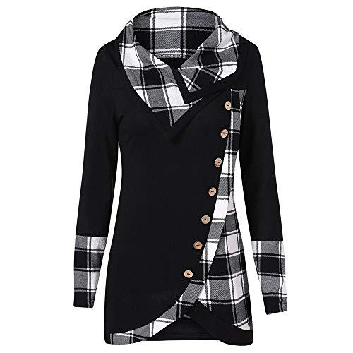 VEMOW Herbst Winter Elegante Damen Frauen Langarm Hoodies mit Knopf Gedruckt Lässig Täglichen Sport Outdoors Hoodies Herbst Sweatshirt(X2-a-Schwarz, 40 DE/M CN)