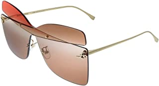 Fendi FF0399/S G63 Red Gold FF0399/S Square Sunglasses Lens Category 2 Size 63m