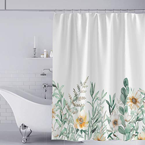 YISUN Anti-Schimmel Duschvorhang, Anti-Bakteriell Duschvorhang, waschbar mit 12 Duschvorhangringen (Weiß/Blau)