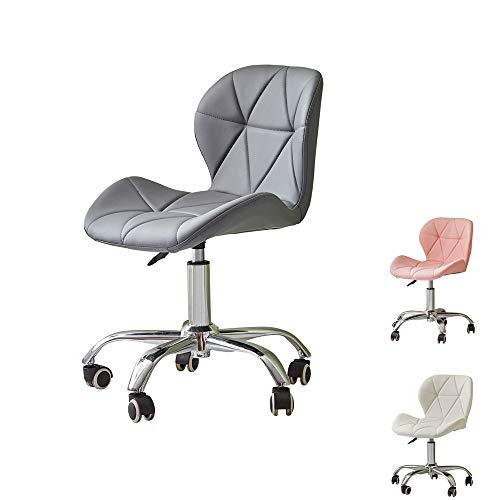 OFCASA Bürostuhl Gepolsterter Sitz aus Kunstleder Grau Bürostuhl auf Rollen Höhenverstellbar Computer Schreibtischstuhl für Büro