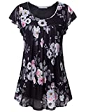 Furnex Black Blouse for Women, Dress Tank Tops for Women Flutter Sleeve Tops Casual Loose Dressy A-Line Tunic Tank Tops for Skirt Mesh Layered Tops Multicolor Black XXX-Large