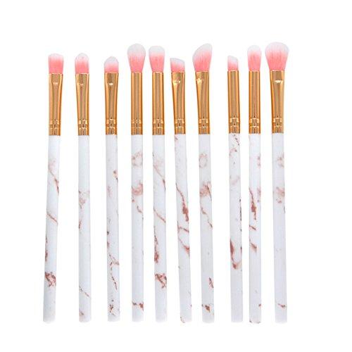 iEay Maquillage Beauté outils set, 10 pièces pinceau Coloré raffinées, pour Visage Contour,yeux Ombre Paupières Eyeliner à Paupières Sourcils Shader Concealer Cosmetics Brush Lip Liner (blanc+rose)