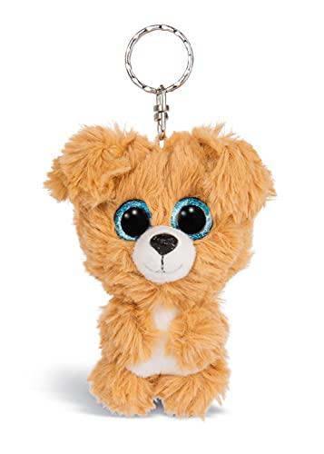 Nici 46312 Glubschis Hund Lollidog 9cm Schlüsselanhänger, Plüschtieranhänger mit Schlüsselring, Stofftierschlüsselhalter, Braun/Weiß