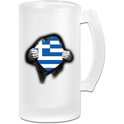 Griekenland vlag trots Frosted glas Stein bier mok, pub mok, drank mok, geschenk voor bier Drinker, 500Ml (16.9Oz)