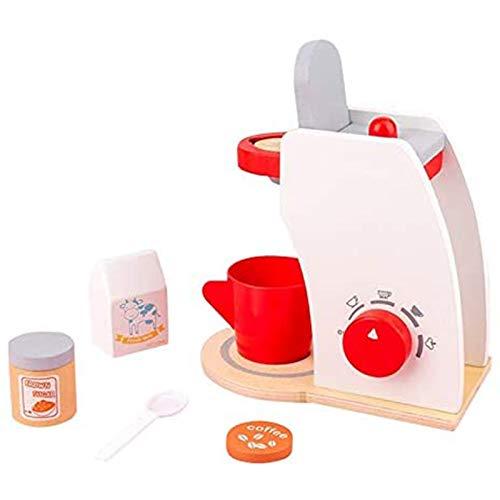 LIGHTZHAO Juego de madera de la máquina de café de juguete de simulación de los niños máquina de café de simulación de juguete conjunto de café juego de chef cocina papel de juguete