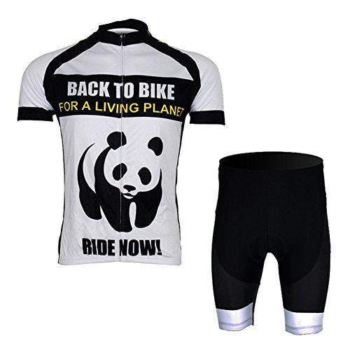 Free Fisher -Set di Maglia Ciclismo da Uomo a Manica Corta (Maglia Bici + Pantaloncini con Imbottitura)