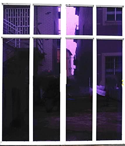 película para Ventanas Película de Ventana de Aislamiento de Plata púrpura Reflectante Solar unidireccional Espejo Color Etiqueta de la Ventana decoración del hogar y la Oficina Longitud 200 cm