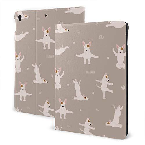 Estuche iPad Personalizado Yoga Perros Poses y Ejercicios Bull Terrier Soporte multiángulo Ángulo magnético Auto Despertar Estuche Protector iPad para iPad 7th 10.2 Inch