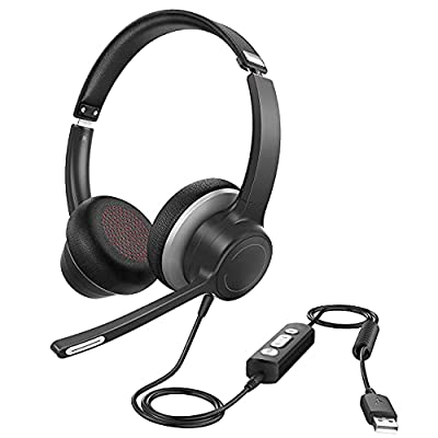 USB Headset with Dual Noise Reduction Microphones, 3.5mm Computer Headset, Extended 270 Degree Boom Mic for Clear Call, Soft Earmuffs, In-line Control for Zoom, Skype, Webinar, PC, Phone from Votohrt