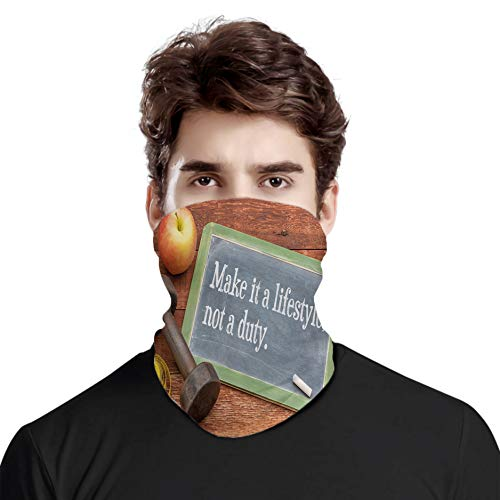 FULIYA Bufanda de cabeza variada, Make It a Lifestyle Not a Duty Chalkboard Mancuernas de manzana cinta métrica sobre impresión de madera, para exteriores, festivales, deportes