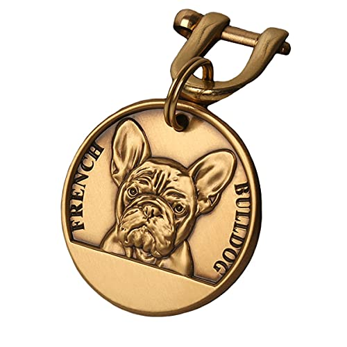 Pure Copper Pet ID Tags, Personalized Dog Tags,Three-Dimensional Relief pet Pattern, Lettering on The Front and Back. Custom pet Tags (French Bulldog, Medium)