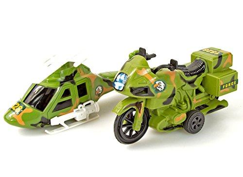 Nick and Ben Militär-Spielzeug Kinder Bundeswehr-Set Motorrad Fahrzeuge Armee Autos Kampf-Hubschrauber Kunststoff 2 Teile