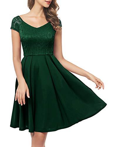 Bbonlinedress Kleid Damen Damen Kleider Abendkleider Grün kurz Rockabilly Kleider Damen Vintage Kleid Kleid Hochzeit gast cocktailkleid festliches Kleid mädchen Dark Green 2XL