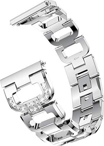 バンド コンパチブル Amazfit GTR 42mm / GTS/Bip/Bip Lite 交換時計バンド 調節可能 ビジネス風 スマートウォッチ 交換バンド (20mm、銀)