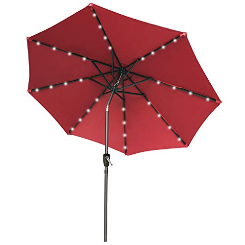 9FT Patio Umbrella Ourdoor Solar Umbrella LED Umbrellas with 32LED Lights, Tilt and Crank Table Umbrellas for Garden, Deck, Backyard and Pool,12+Colors,(Burgundy)