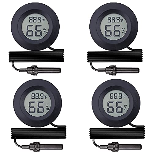 4-Pack Digital Probe Hygrometer Thermometer Indoor Outdoor Reptile Humidity Meter Gauge with Large LCD Display for Incubator Humidor Tank Humidifiers Dehumidifiers Greenhouse Basement Babyroom