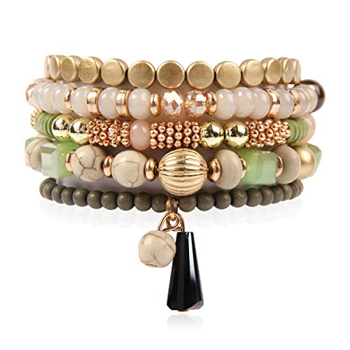 RIAH FASHION Bohemian Mix Bead Multi Layer Versatile Statement Bracelets - Stackable Beaded Strand Stretch Bangles Sparkly Crystal, Tassel Charm (Green)