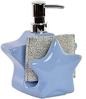 Dosificador de Jabón para Cocina realizado en Dolomite, con Soporte para Esponja/Estropajo. Diseño de Estrella - Hogar y Más - Azul