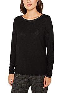 ESPRIT Damen 119EE1K009 Langarmshirt, Schwarz (Black 001), Small (Herstellergröße: S)