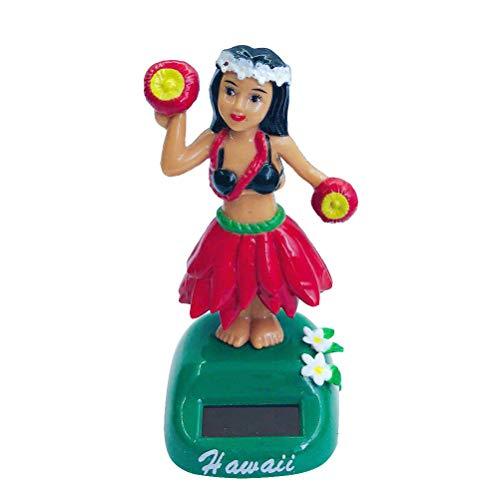 Amosfun Dashboard hula girl bobble head Solar Powered hawaiian hula shaking head dancing toy Figure doll for car interior Decorations ornament Style B Red
