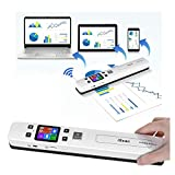 Microware Portable Scanner WiFi Photo Scanner Wand with OCR Tech 4 Resolution Setting and 2 Scanning Mode Scan A4 Double-Roller Design for Laptop Mac Windows Computers