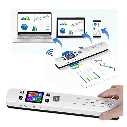 Eofiti Portable Scanner WiFi Photo Scanner Wand with OCR Tech 4 Resolution Setting and 2 Scanning Mode Scan A4 Double-Roller Design for Laptop Mac Windows Computers Included 16GB SD Card