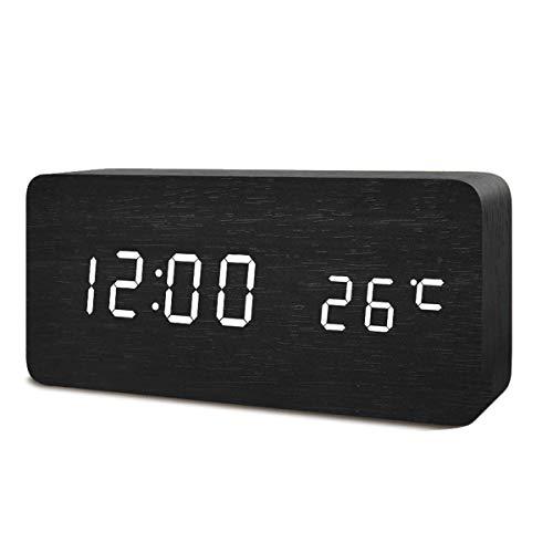置き時計 置時計 デジタル おしゃれ 北欧 木目調LED アンティーク 時計 クロック 目覚まし時計 デジタル時計 アラーム時計 卓上 アラーム 日付 温度 木製 ウッド シンプル インテリア リビング 新築祝い (ブラック)……