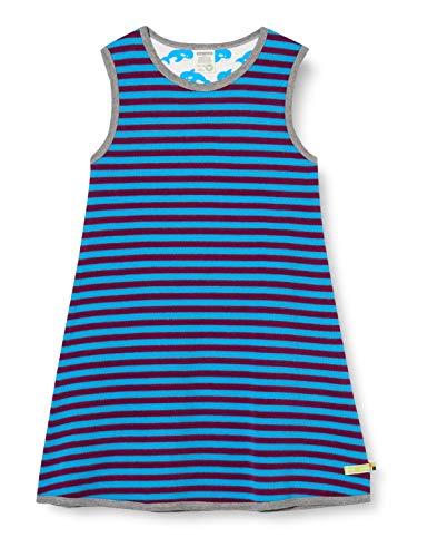 loud + proud Mädchen Kleid Ringel Kinderkleid, Plum/Aqua, 110/116