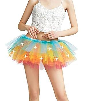 Women Tutu Adult LED Light Up Neon Rainbow Tulle Tutu Skirt Rainbow