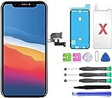 Écran de rechange pour iPhone X, écran LCD et écran tactile numériseur avec kit d'outils de réparation, film protecteur d'écran et colle étanche (noir, 5,8', pour iPhone X)