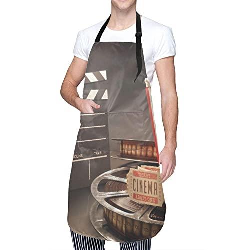 Delantal impermeable ajustable para colgar en el cuello, objetos relacionados con el cine en superficie reflectante, vestido de cocina para hombres y mujeres con 2 bolsillos centrales