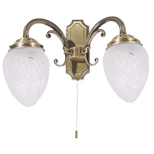 Jugendstil Wandleuchte zweiflammig E14 230V mit Zugschnur Schalter Wandlampe Leuchter für Wohnzimmer Esszimmer Schlafzimmer
